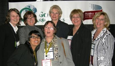 Catharine Shaw, Golder Associates; Sue Herbert, MNDM-DM; Unidentified; Jane Werniuk, Editor CMJ; Patricia Dillon, PDAC President; MaryAnn Mihychuk, HudBay Minerals Director; Kim MacDonald PDAC