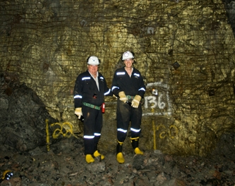 Terry McGibbon, Executive Chairman; John Lill, President and CEO FNX Mining - Underground at the Podolsky Mine, Sudbury Basin