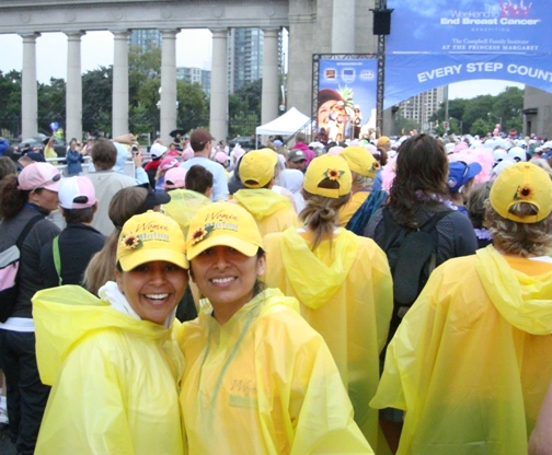 Fabiola (left) and Rosario Astuvilca at the Toronto Exhibition grounds during the rainy start of the Weekend to End Breast Cancer walk, September 6 and 7, 2008.  Photo Credit: Team mate Monica Ospina