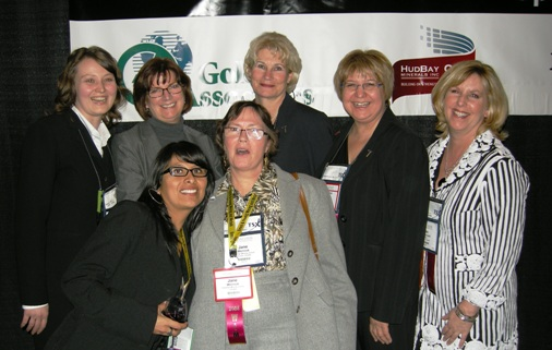 Several members of the Women in Mining Network at the WIM reception during the Toronto, Canada, PDAC convention in March 2008. From left to right: Rosario Astuvilca of the Bedford Group, Catharine Shaw of Golder Associates, Sue Hebert (assistant deputy minister of mines in Ontario), Jane Werniuk of Canadian Mining Journal, Pat Dillon of Teck Cominco, MaryAnn Mihychuk of Hudbay Minerals, and Kim MacDonald of the PDAC. Photo Credit: Stan Sudol