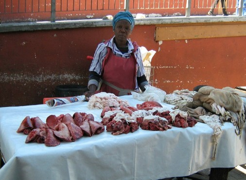 The Townships Project - Mrs. Nozakhe Jacob, butcher, Site B Train Station, Khayelitsha, near Cape Town, South Africa