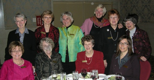 WAMIC (The Women's Association of the Mining Industry of Canada - Toronto) CMHF Committee Backrow (Left to Right) Nancy Wahlroth, Nean Allman (CMHF Coordinator), Lillian Vincze, Joan Scott, Pat Leigh (Chair, WAMIC/CMHF Committee) and Florence Mannard Front Row (Left to Right) Peggy Wahl, Eve Brummer, Pat Crombie and Patty Mannard (Chair, WAMIC Foundation)