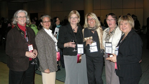(L to R) Joan van Kralingen, Manager, Policy, MNDM; Lynda Bloom, President & CEO Halo Resources; Patricia J. Dillon, Director, Employee Communications and Engagement, Teck Ltd.; Patricia Sheahan, Consultant; Jane Werniuk, Mining Writer/Geologist; MaryAnn Mihychuck, Director, Corporate Relations, HudBay Minerals Inc.