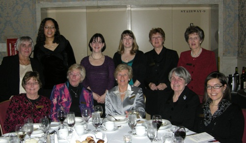 Mining Hall of Fame Volenteers - Back Row (L to R) Lillian Vincze, Chair of WAMIC-CMHF Committee; Alicia Ferdinand; Becky Bays, New CMHF Co-ordinator;  Michelle Burns, Singer;  Pat Leigh;  Pat Crombie. Front Row (L to R) Peggy Wahl; Joan Scott; Carol-Ann Devine; Eve Brummer; Patty Mannard