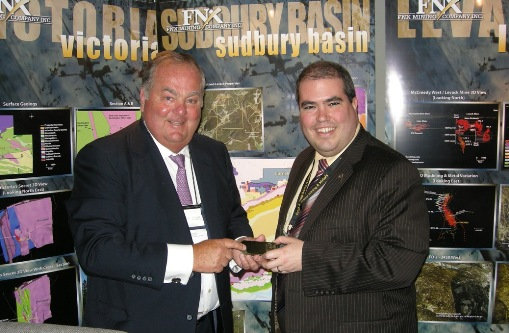 (L to R) FNX Mining Company Inc. Chairman and CEO Terry McGibbon and Laurentian University President Dominic Giroux