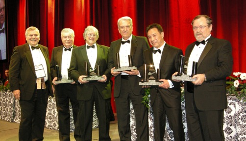 (L to R) Award Presenter, Edward Thompson; Prospectors of the Year Winners, Mac Watson, Richard E. Nemis, John D. Harvey, Donald Hoy, Neil D. Novak