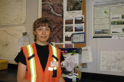 Russian Hydrology Student Yulia Orlova at De Beers Canada's Victor Diamond Mine