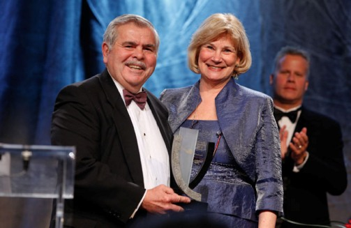 (L to R) Edward Thompson, PDAC Former President and Chair of Awards Committee; Patricia Dillon, Distinguished Service Award Winner