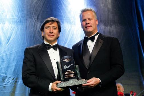 (L to R) Laurence Golborne, Chile Minister of Mining, Special Achievement Award Winner; PDAC President, Scott Jobin-Bevans