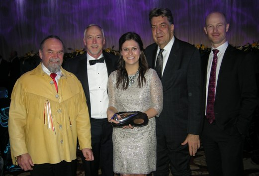 (L to R) Noront Team at PDAC Awards Ceremony: Glenn Nolan, Vice President, Aboriginal Affairs; Alan Coutts, P.Geo, President and CEO; Kaitlyn Ferris, Manager, Corporate Responsibility; Paul Semple, P.Eng, Chief Operating Officer; Gregory Rieveley, CPA, CA, Chief Financial Officer.