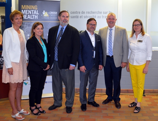 (L to R) France Gélinas, MPP Nickel Belt; Jody Kuzenko, Director of Vale's Ontario Production Services; Leo Gerard, International President of the United Steelworkers; Dr. Michel Larivière, clinical psychologist and Associate Director at CROSH; Hon Kevin Daniel Flynn, Ontario Minister of Labour; Dr. Tammy Eger, Research Chair in Occupational Health and Safety (OHS) and Associate Professor in Laurentian's School of Human Kinetics
