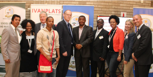 Representatives of the South African and Canadian governments, Ivanhoe Mines, Ivanplats, Laurentian University (LU) and the University of Limpopo (UL) celebrate the new partnership in mining education at the latter's Turfloop Campus in Polokwane today. (L to R) Vinesh Devchander (Department of Mineral Resources), Dr. Patricia Makhesha (Managing Director, Ivanplats), Dr. Bruce Jago (LU), Michael Langa (MSc candidate), Prof. John Dunlevey (UL), Prof. Mahlo Mokgalong (Vice-Chancellor, UL), Prof. Aifheli Gelebe (UL), Thabiso Makohliso (MSc candidate), Louise Holt (Canadian High Commission) and Jeremy Michaels (Ivanhoe Mines).