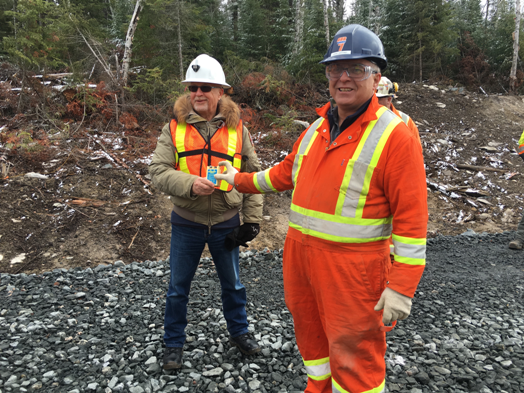 (L to R) Harte Gold CEO Stephen G. Roman and Nordex Explosives' Grant Zarichney.
