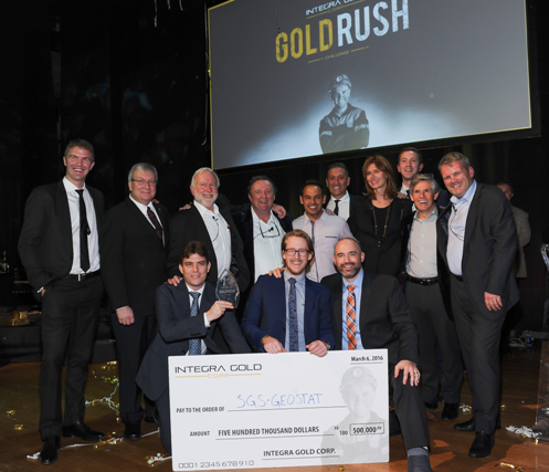 L-to-R back row: Steve de Jong, President & CEO, Integra Gold; Luc Blanchette, Quebec Minister for Mines; Brent Cook, Gold Rush Titan; Sean Roosen, Gold Rush Titan; Shaun Majumder, Comedian and Gold Rush Finale MC; George Salamis, Executive Chairman, Integra Gold; Chantal Gosselin, Gold Rush Titan; Mark Stockton, Business Development, Integra Gold; Rob McEwen, Gold Rush Titan; Randy Smallwood, Gold Rush Titan L-to-R front row: Doug Hatfield, SGS Geostat; Jean-Philippe Paiement, SGS Geostat; Guy Desharnais, SGS Geostat Credit: George Pimentel Photography