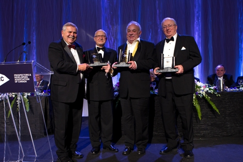 (L to R) Edward Thompson, PDAC Awards Committee Chair; Stephen Roman; Robert Cudney; John Whitton